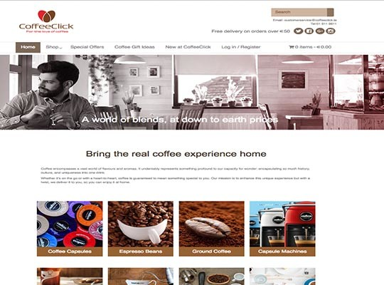 Coffee website layout